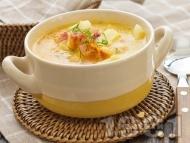Рецепта Картофена супа с пилешки бульон, бекон и копър